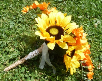 Sunflower bouquet~ Fall bouquet~Yellow & Orange bouquet~ Rustic bouquet