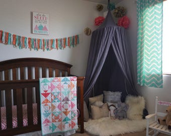 Play canopy in grey cotton/ hanging tent/ hanging canopy