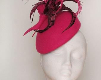 Ready Made for Cheltenham, Pink Felt Beret  Fascinator
