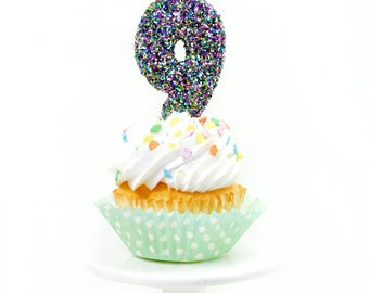 """3"""" Number 9 Candle, Giant 9 Candle, Large Mardi Gras Candle Mermaid Birthday Giant Glitter Candle Marti Gra Party Multi-Colored Glitter"""