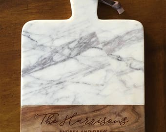 Marble and Wood Engraved Cheese Board, Personalized Cheese Board, Engraved Cutting Board, Custom Cutting Board, Wedding Gift