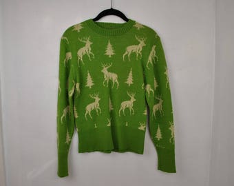 RARE Retro Avocado Green Reindeer sweater // Small // Collectible // Christmas tree // Holiday sweater //