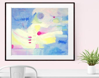 Abstract Art, giclee Print, Abstract Art print,   Modern Art ,  Original Abstract , Contemporary Painting ,  Blue Pink Yellow - Blue Moon