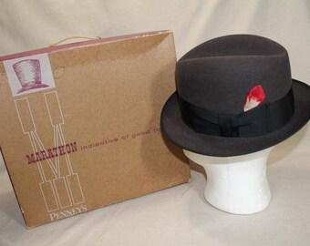 Vintage Penny's Marathon Black 3X Fedora Trilby Homburg Fur Felt  Men's Hat Size 7 in Original  Box Classic Style