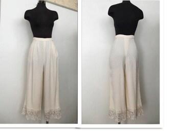 80s Valentino Textured Cream Silk Trousers Vintage Cropped High Waist Wide Leg Designer Slacks 28 M Pants