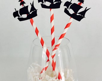 12 Pirate Ship Straws - Paper Straws - Ahoy Matey - Pirate Party - Birthday Party - Boy - Gasparilla