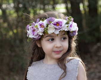 Flower Girl Crown, Flower Crown Toddler, Tieback Flower Crown, Flower Headband, Bridesmaid Crown, Bridal Floral Crown, Girls Flower Crown