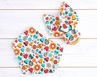 Baby Gift Set - Dribble Bib and Teething Ring - Drool Bib - Fabric Teether - Little Forest - Gender Neutral Gift - New Baby Gift Idea
