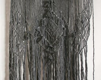 charcoal cotton macrame wall hanging
