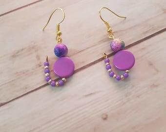 Cat purple beaded earrings