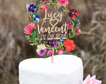 Personalized Wedding Cake Topper, Wedding Date Cake Topper, Wedding Gift, Wood Name Caketopper Printed with Colorful Floral Wreath VU004