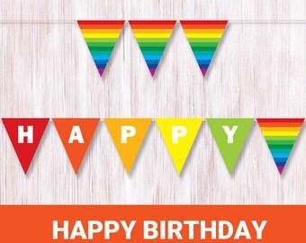 Happy Birthday Rainbow Banner Printable Rainbow Bunting Colorful party decor Rainbow birthday flags Rainbow colors Multi color paper banner