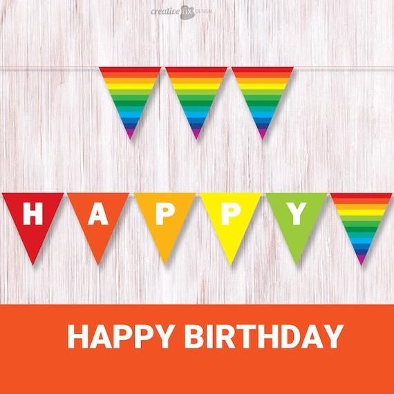 happy birthday rainbow banner printable rainbow bunting. Black Bedroom Furniture Sets. Home Design Ideas