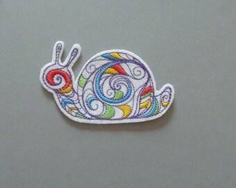 Applique badge patch snail white and multicolor
