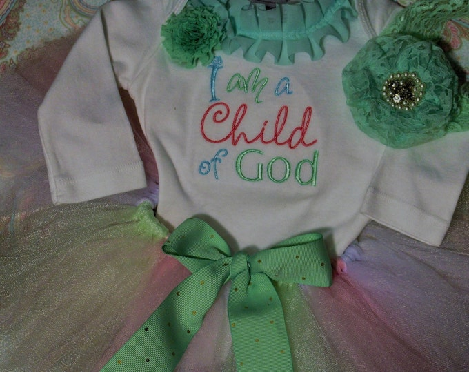I am a child of God, Religious baby outfit,Blessing outfit,Baby girl baptism, Baby pastel tutu,Pale green,pink, lavender tutu,baby shower