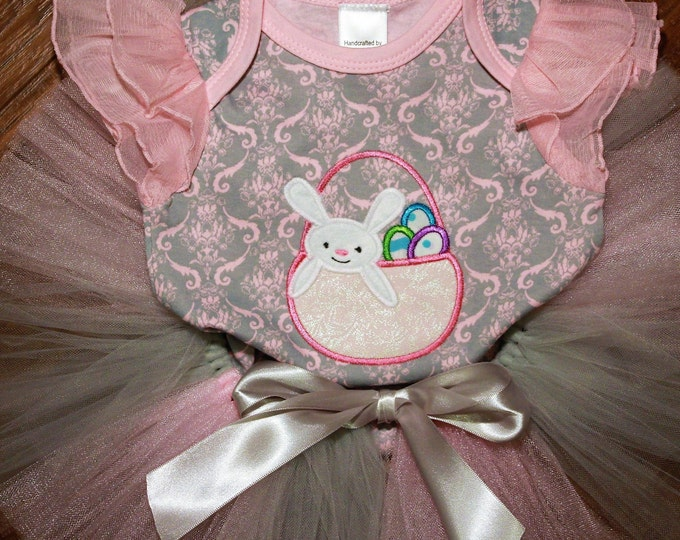 Featured listing image: Easter bunny baby girl outfit,Easter basket bodysuit,Easter bunny,Easter eggs,Pink and gray damask bodysuit, Pink and silver tutu,shower