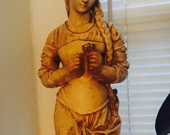 "Alexander Backer Co. Chalkware Statue Hippolyte Moreau Young Maiden Holding Flower 24"""