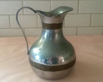 Heavy aluminum copper pitcher antique pitcher