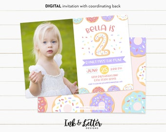 Photo Birthday Invitations - Donut Party Invitations - Doughnut Birthday Party - Donut Birthday - Girl Birthday Invites - Second Birthday