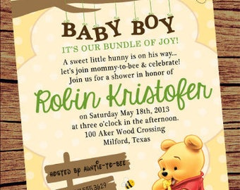 Winnie The Pooh Baby Shower Invitation / Winnie Pooh Invite/ Baby Pooh Bear  DigitalInvite/