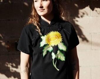 Sunflower Embroidered Qipao/Cheongsam Shape Top
