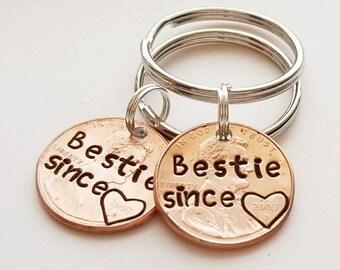 Custom Bestie Since Lucky Penny Keychain, Best Friend Gift, Besties, Bestie Gift, Anniversary, Birthday, Bridesmaid,  Her, BFF, Valentine's