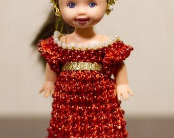 Barbie sister clothes Shelly crochet Handmade crochet fantasy gown Juliette Shelly clothes Shelly dress Shelly beads Medieval Renaissance