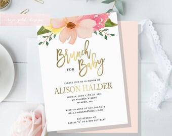 Floral Baby Shower Invitation, Brunch For Baby Invitation, baby shower invites, boho baby shower, pink and gold Floral invitation, gold foil