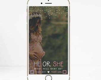 INSTANT DOWNLOAD, Gender Reveal Snapchat Filter, Baby Shower Filter, He or She What Will Baby Be? pink or blue geofilter, Team Blue or Pink