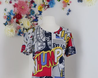 1980s T-shirt - Novelty Print Roy Lichtenstein Tee - Comic Art Graphic Top - Hipster Multicolour Shirt Short Sleeve Vintage Top - Size Large