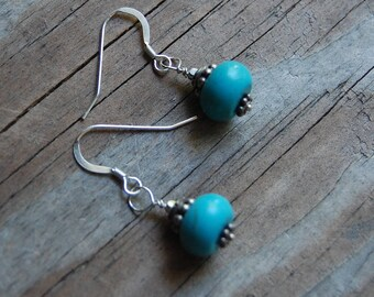 Sterling Silver Genuine Solid Blue Dyed Howlite Dangle Earrings