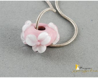 Big hole beads pink and white flowers Lampwork glass Troll SRA bead for european bracelets Pandora style charms Rose bhb floral wedding