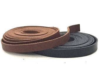 "Brown Leather Strip 80"" / Long Leather Strip / Flat Leather Cord / Brown Jewelry Leather / Brown Leather Straps / 7, 10 mm"