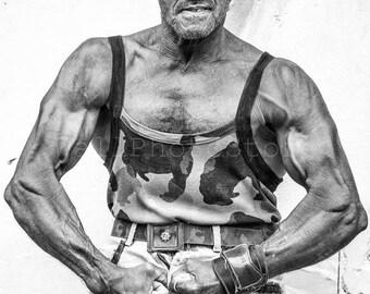 Cuba Photography, Muscular Man, Cuban Man, Biceps, Muscle, Strong Man, Black and White Photography, Fine Art Photograph, Vertical Wall Print