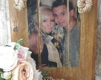 Rustic Unique/Bespoke/ Personalised A4 Wood Photo Wall Plaque with Rope Hanging