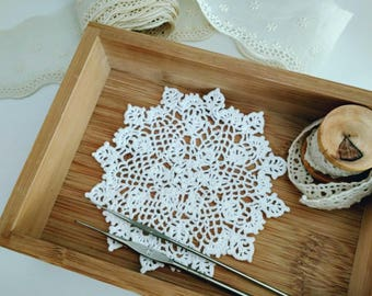 Small Crochet Doily, White Round Doily, Table Decor, Handmade Doily