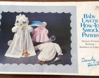 Smocked baby layette, smocked baby sacque, smocked baby gown, handmade baby layette, heirloom sewing baby clothes, how to smock
