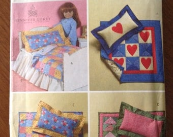 18 inch doll bed and quilts, 18 inch doll bed pattern, doll mattress and sheet, doll bed dust ruffle,  doll bed Quilts and pillows