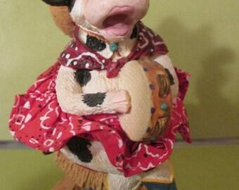 Figurine /Country Cow / Karaoke Singer / Home Decor/ Collectible/ Figurines and Knick Knacks/ Sculpture/Barnyard Animal/ Bovine Beauty/Art