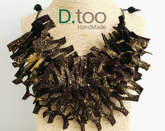 ORIGAMI Brown and gold necklace Collection_vera pelle_colore