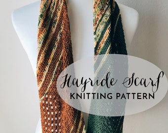 PATTERN: Hayride Scarf || Easy Colorful Lace Scarf Wrap Knit Pattern