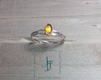 Amber and silver wire ring