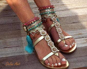 Luxury Gold Sandals, Leather sandals, Greek handmade leather sandals, made to order, free shipping DHL 1-4 days