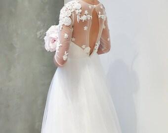 SAMPLE SALE Beaded Floral Lace Long Sleeve Wedding Dress