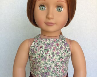 Floral High Neck Cropped Tank Top - 18 Inch Doll Clothes