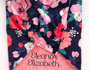 Personalized Minky Blanket - Minky Baby Blanket - Baby Blanket with Name - Baby Shower Gift - Monogrammed Baby Blanket  - Floral Blanket