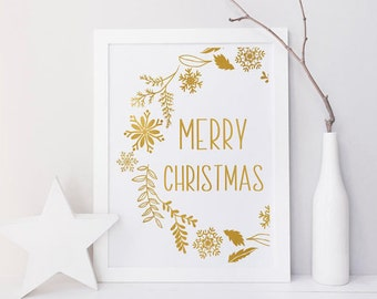 Merry Christmas Sign, Wall art print, Christmas decoration, Christmas printables, Party decor, party print, digital instant, gold, snowflake
