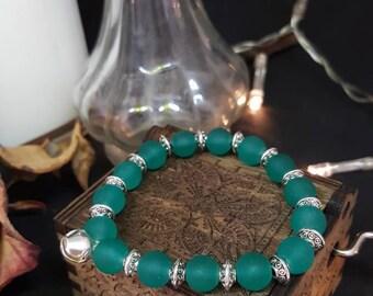 Bracelet Silver & Glass - elastic bracelet - glass - silver - Bell - iridescent Pearl bead - Mermaid