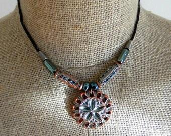 Bohemian choker pendant flower charm medallion bohemian girlfriend necklace wife pendant mother OOAK terracotta clay handmade