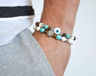Men's Beaded Bracelets, Men's Bracelets, Men's Jewelry, Made in Greece by Christina Christi Jewels.